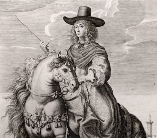 UNSPECIFIED - CIRCA 1754: Queen Christina of Sweden (1626-1689). Succeeded to the throne in 1632. Abdicated in 1654 so that she could practice her Roman Catholic faith to which she had converted, Sweden being a Protestant country. Engraving of Christina on horseback in Rome under her new name, Maria Christina Alexandra. (Photo by Universal History Archive/Getty Images)